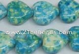 CRF134 15.5 inches 18*18mm heart dyed rain flower stone beads