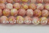 CRF314 15.5 inches 4mm round dyed rain flower stone beads wholesale