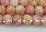 CRF317 15.5 inches 10mm round dyed rain flower stone beads wholesale