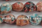 CRF361 15.5 inches 11*12mm skull dyed rain flower stone beads