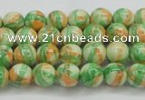 CRF416 15.5 inches 4mm round dyed rain flower stone beads wholesale