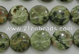 CRH142 15.5 inches 14mm flat round rhyolite gemstone beads