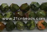 CRH162 15.5 inches 8mm faceted nuggets rhyolite gemstone beads