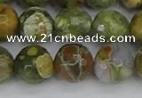 CRH530 15.5 inches 12mm faceted round rhyolite beads wholesale