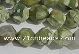 CRH556 15.5 inches 12mm faceted nuggets matte rhyolite gemstone beads