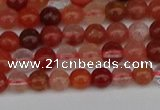 CRH600 15.5 inches 4mm round red rabbit hair quartz beads