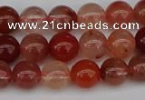 CRH601 15.5 inches 6mm round red rabbit hair quartz beads