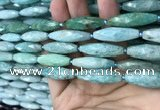 CRI112 15.5 inches 10*30mm faceted rice amazonite gemstone beads