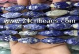 CRI121 15.5 inches 10*30mm faceted rice sodalite gemstone beads