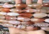 CRI126 15.5 inches 10*30mm faceted rice red agate gemstone beads