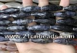CRI152 15.5 inches 10*30mm faceted rice iolite gemstone beads