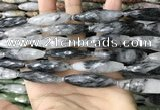 CRI155 15.5 inches 10*38mm faceted rice black rutilated quartz beads