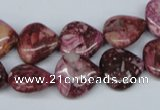 CRM51 15.5 inches 13*13mm heart dyed red mud jasper wholesale