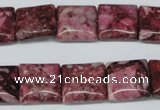 CRM56 15.5 inches 14*14mm square dyed red mud jasper wholesale