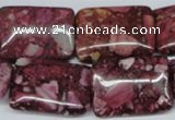 CRM57 15.5 inches 18*25mm rectangle dyed red mud jasper wholesale
