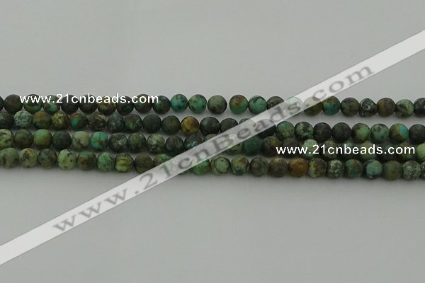 CRO1051 15.5 inches 6mm round matte African turquoise beads