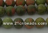 CRO1062 15.5 inches 8mm round matte unakite beads wholesale