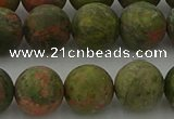 CRO1064 15.5 inches 12mm round matte unakite beads wholesale