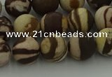 CRO1073 15.5 inches 10mm round matte brown zebra jasper beads