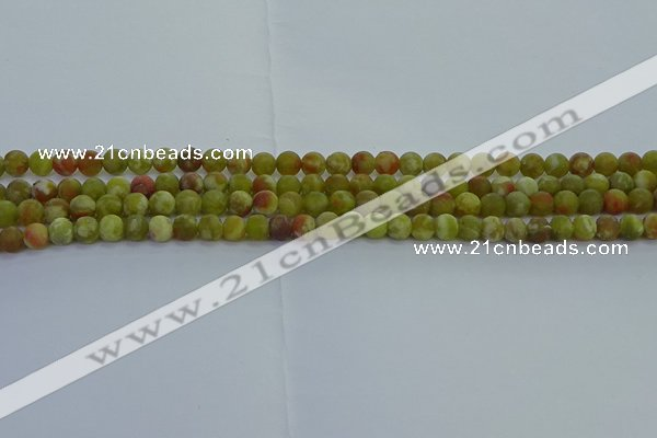 CRO1150 15.5 inches 4mm round matte green dragon serpentine jasper beads