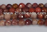 CRO1188 15.5 inches 4mm faceted round red porcelain beads