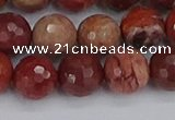 CRO1192 15.5 inches 12mm faceted round red porcelain beads