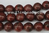 CRO193 15.5 inches 10mm round sesame red jasper beads wholesale