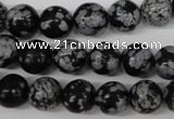 CRO236 15.5 inches 10mm round snowflake obsidian beads wholesale