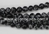 CRO39 15.5 inches 6mm round snowflake obsidian beads wholesale