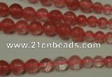 CRO745 15.5 inches 6mm – 14mm faceted round cherry quartz beads