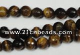 CRO782 15.5 inches 8mm faceted round yellow tiger eye beads wholesale