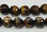CRO784 15.5 inches 12mm faceted round yellow tiger eye beads wholesale
