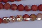 CRO931 15.5 inches 6mm round matte red jasper beads wholesale