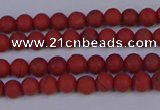 CRO940 15.5 inches 4mm round matte red jasper beads wholesale