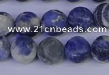 CRO953 15.5 inches 10mm round matte sodalite beads wholesale