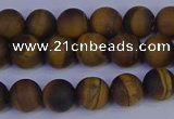 CRO962 15.5 inches 8mm round matte yellow tiger eye beads wholesale