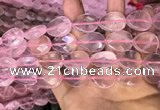 CRQ423 15.5 inches 15*20mm faceted flat teardrop rose quartz beads