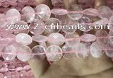 CRQ554 15.5 inches 16mm faceted coin rose quartz beads wholesale