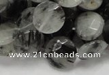 CRU04 15.5 inches 15mm faceted flat round black rutilated quartz beads