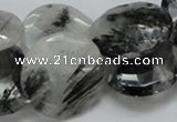 CRU05 15.5 inches 25mm faceted flat round black rutilated quartz beads