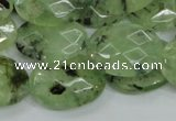 CRU115 15.5 inches 18*25mm faceted oval green rutilated quartz beads