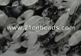CRU12 15.5 inches 9*12mm faceted oval black rutilated quartz beads