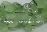 CRU130 15.5 inches 11*13mm faceted freeform green rutilated quartz beads