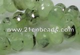 CRU132 15.5 inches 10*14mm faceted rondelle green rutilated quartz beads