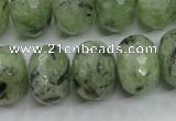 CRU144 15.5 inches 15*20mm faceted rondelle green rutilated quartz beads