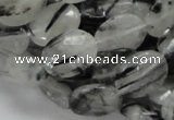 CRU15 15.5 inches 12*16mm faceted oval black rutilated quartz beads