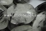 CRU23 15.5 inches 22*30mm faceted freeform black rutilated quartz beads