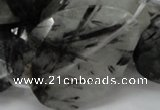CRU24 15.5 inches 30*40mm faceted freeform black rutilated quartz beads