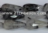 CRU350 15.5 inches 12*25mm faceted teardrop black rutilated quartz beads