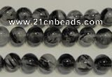 CRU502 15.5 inches 8mm round black rutilated quartz beads wholesale